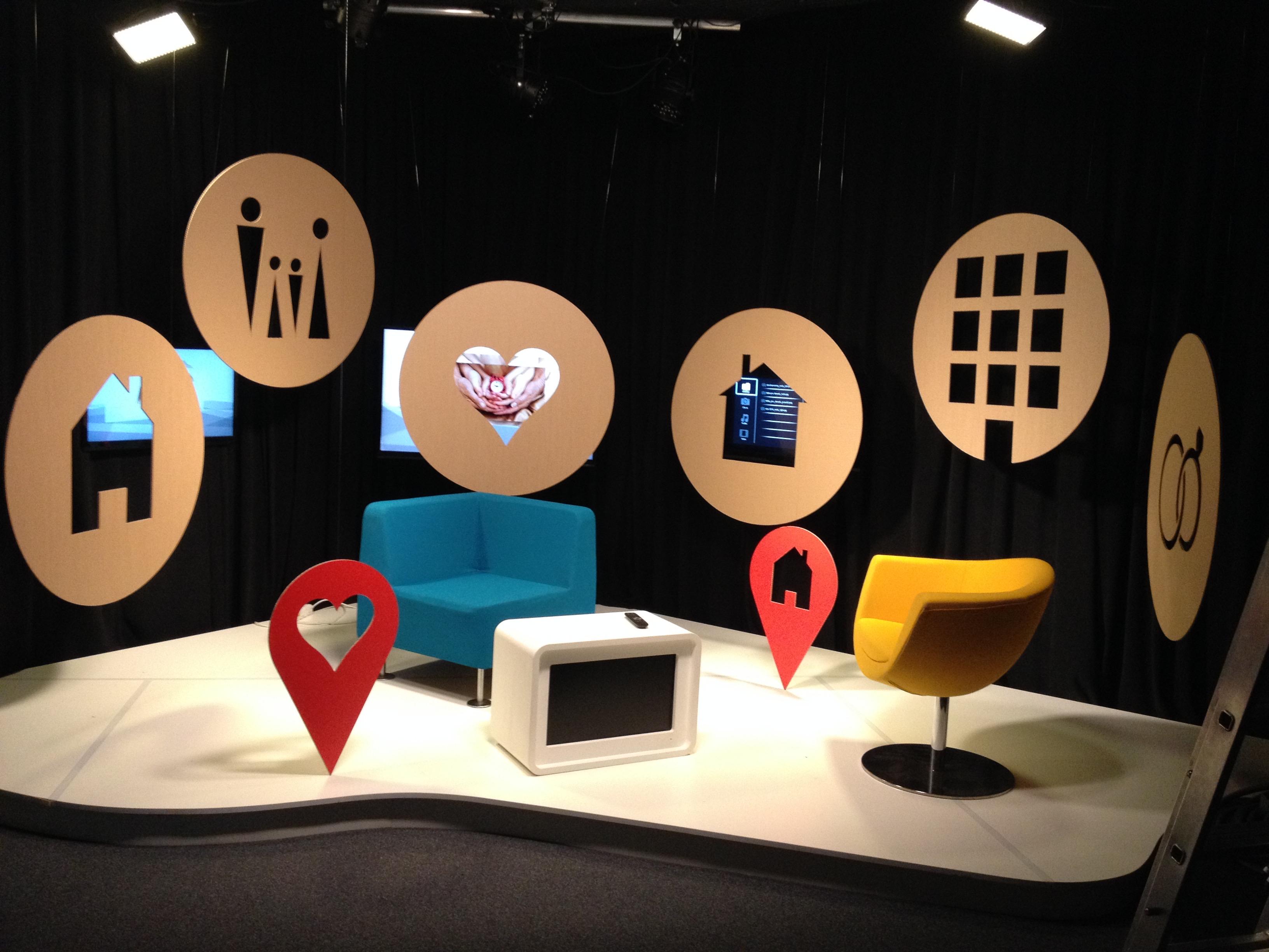 Design scény pořadu TV studia
